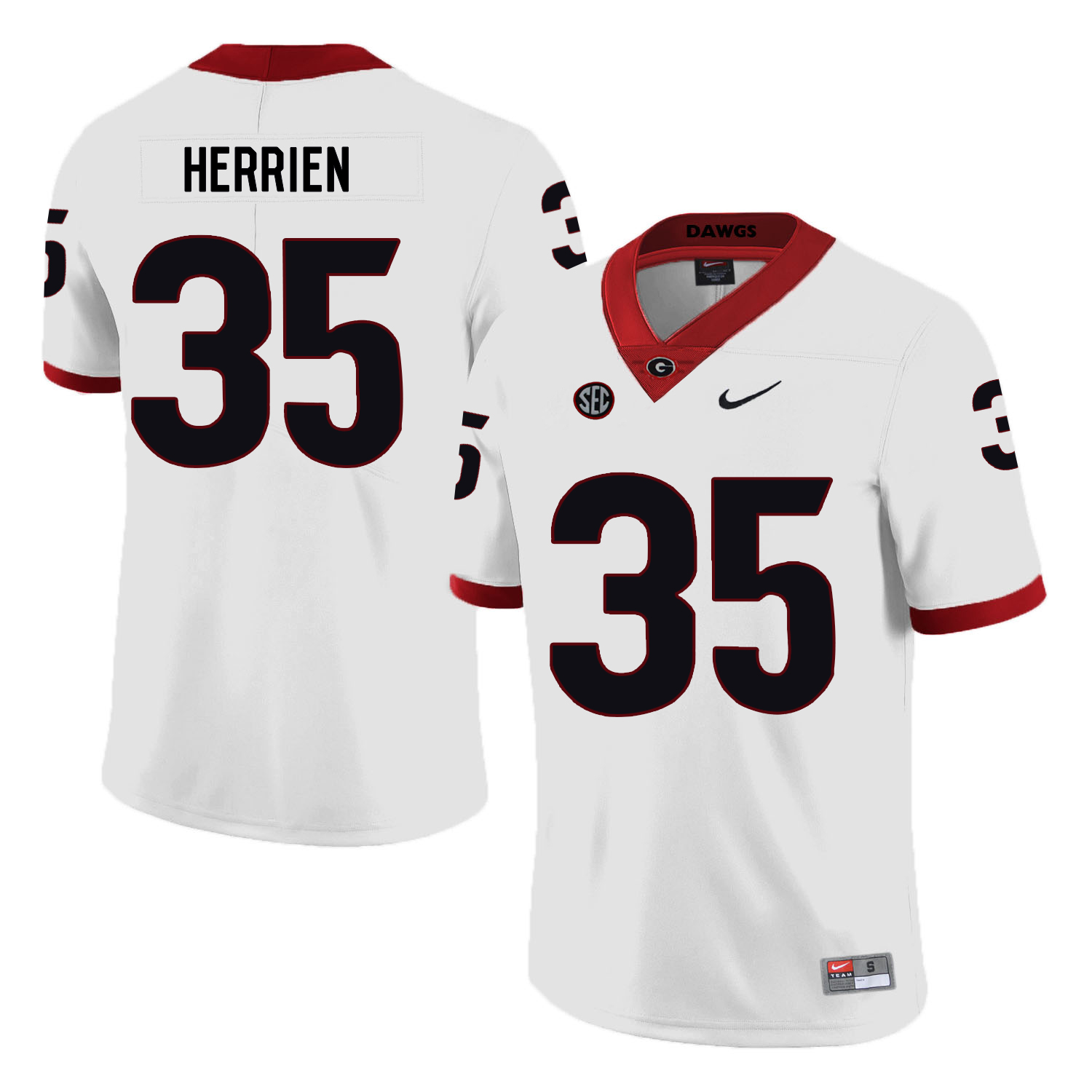 Georgia Bulldogs 35 Brian Herrien White Nike College Football Jersey