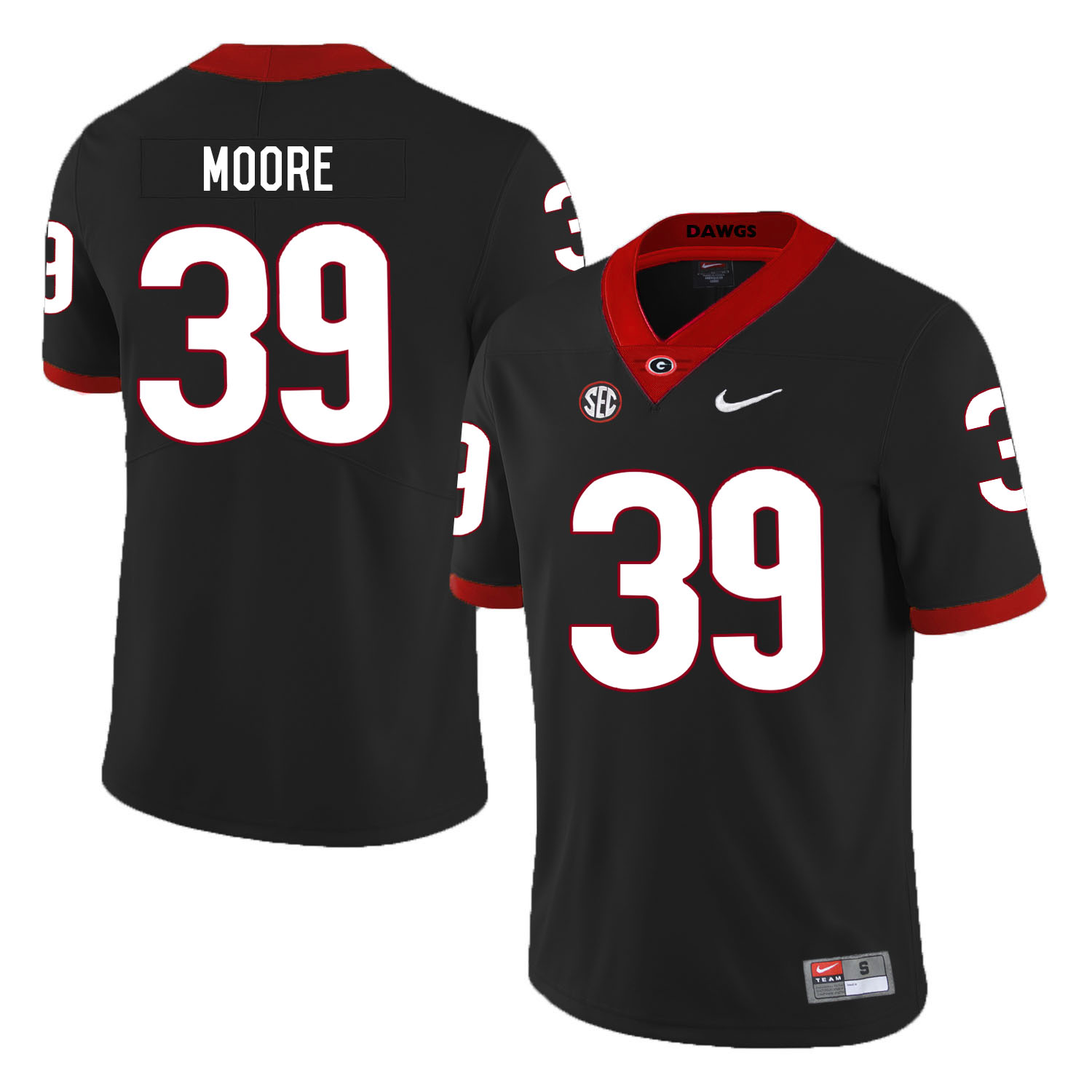 Georgia Bulldogs 39 Corey Moore Black Nike College Football Jersey