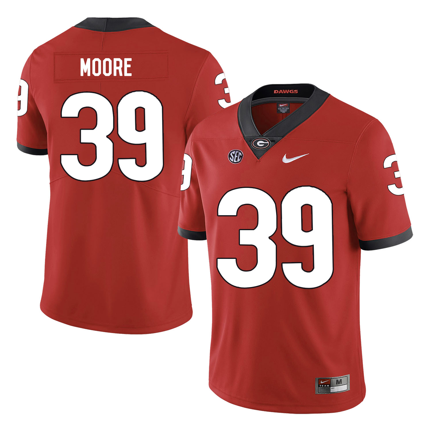 Georgia Bulldogs 39 Corey Moore Red Nike College Football Jersey