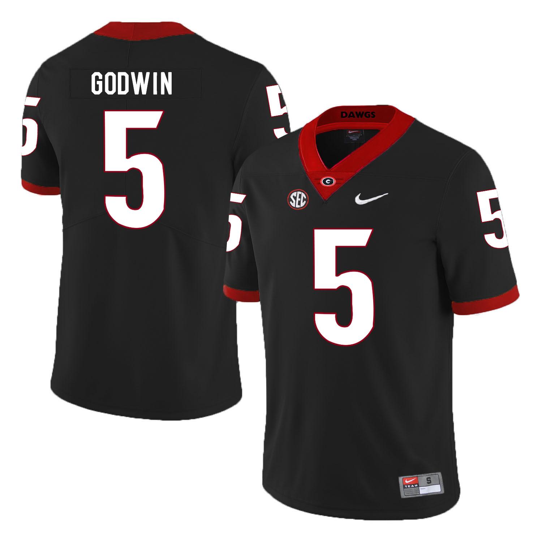 Georgia Bulldogs 5 Terry Godwin Black Nike College Football Jersey