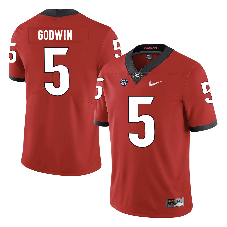 Georgia Bulldogs 5 Terry Godwin Red Nike College Football Jersey