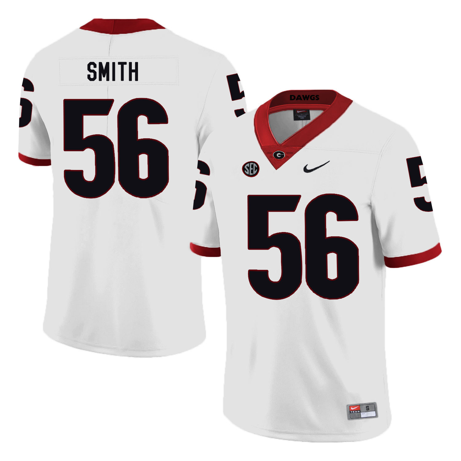 Georgia Bulldogs 56 Garrison Smith White Nike College Football Jersey
