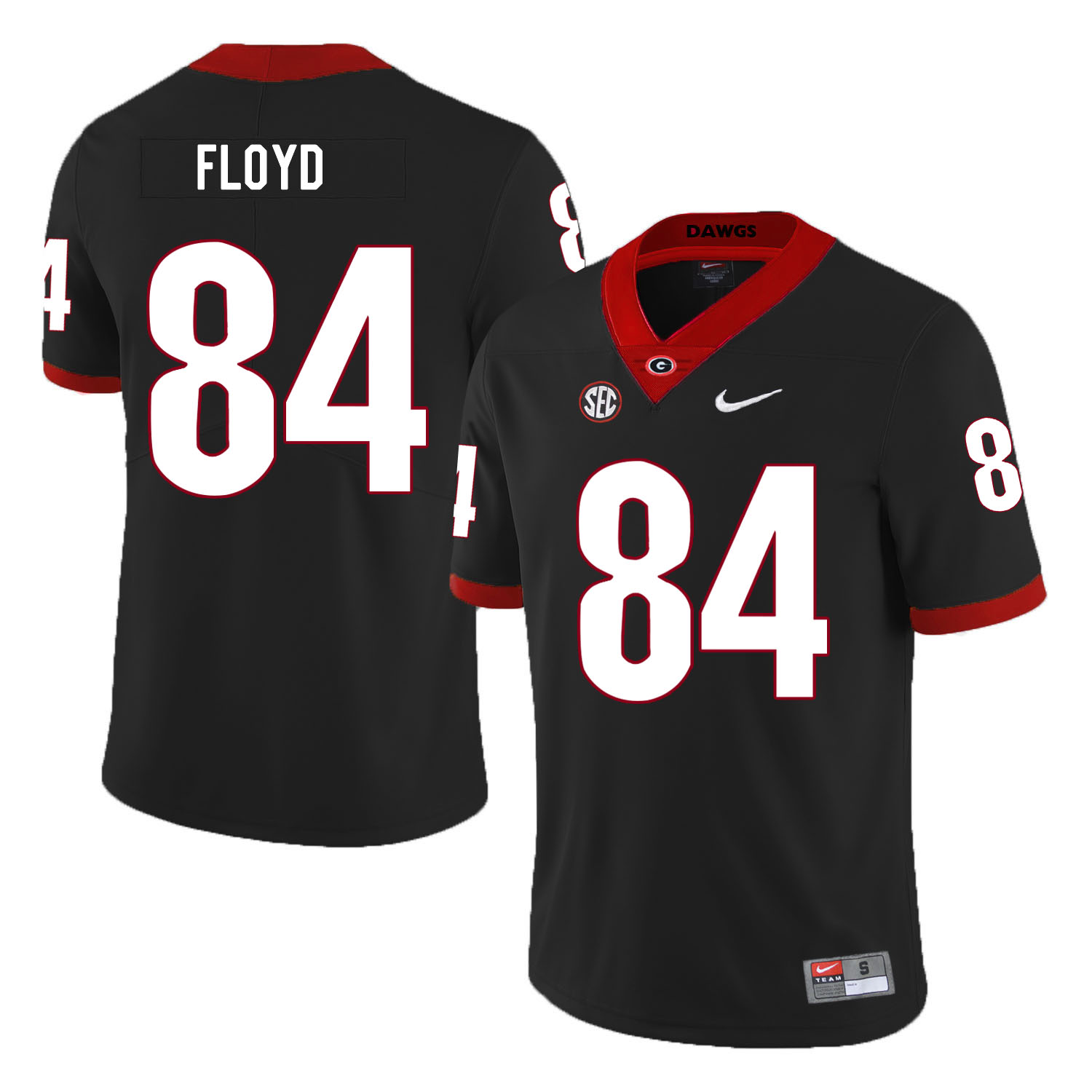 Georgia Bulldogs 84 Leonard Floyd Black Nike College Football Jersey