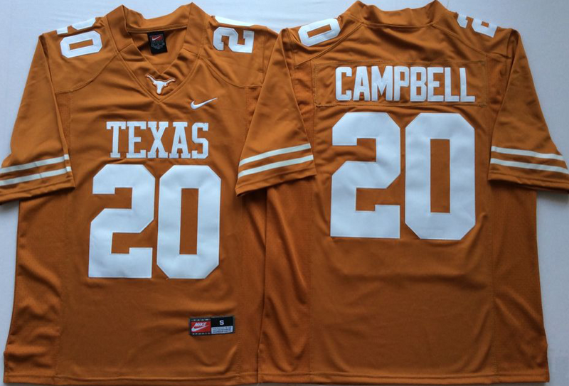 Texas Longhorns 20 Earl Campbell Orange Nike College Football Jersey