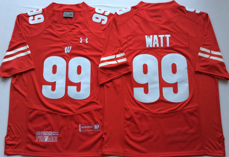 Wisconsin Badgers 99 J.J. Watt Red Nike College Football Jersey
