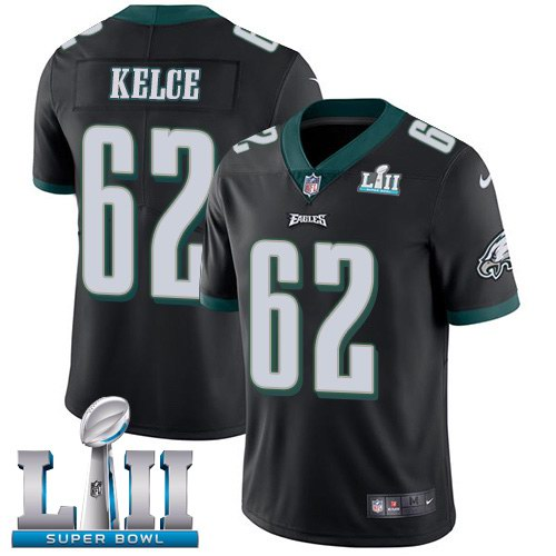 Nike Eagles 62 Jason Kelce Black 2018 Super Bowl LII Vapor Untouchable Limited Jersey