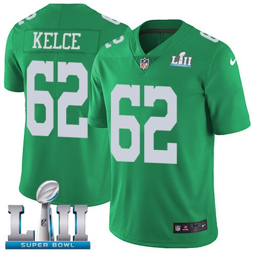 Nike Eagles 62 Jason Kelce Green 2018 Super Bowl LII Color Rush Limited Jersey