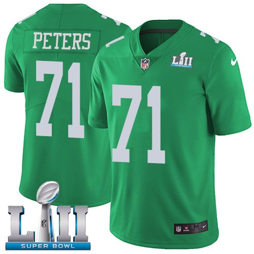 Nike Eagles 71 Jason Peters Green 2018 Super Bowl LII Color Rush Limited Jersey