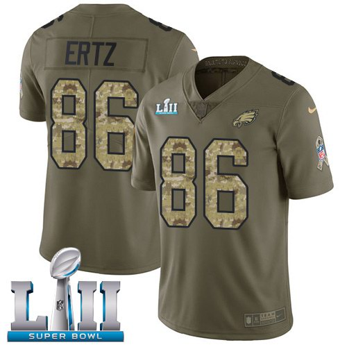 Nike Eagles 86 Zach Ertz Olive Camo 2018 Super Bowl LII Salute To Service Limited Jersey