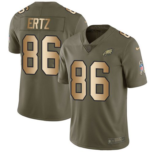 Nike Eagles 86 Zach Ertz Olive Gold 2018 Super Bowl LII Salute To Service Limited Jersey