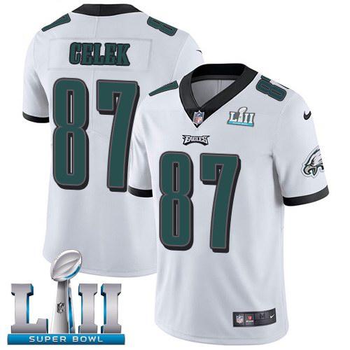 Nike Eagles 87 Brent Celek White 2018 Super Bowl LII Vapor Untouchable Limited Jersey
