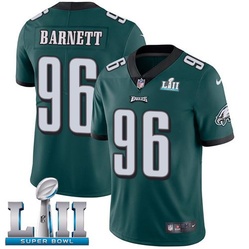 Nike Eagles 96 Derek Barnett Green 2018 Super Bowl LII Vapor Untouchable Limited Jersey
