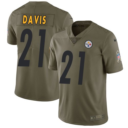 Nike Steelers 21 Sean Davis Olive Salute To Service Limited Jersey