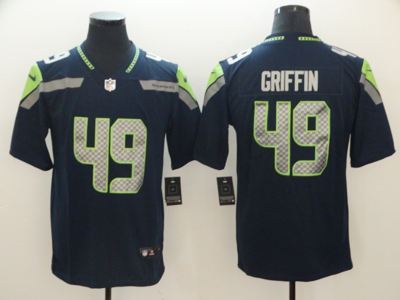 Nike Seahawks 49 Shaquill Griffin Navy Drift Fashion Elite Jersey