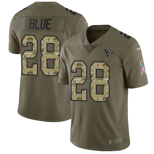 Nike Texans 28 Alfred Blue Olive Camo Salute To Service Limited Jersey