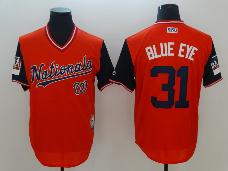 Nationals 31 Max Scherzer Blue Eye Red 2018 Players' Weekend Authentic Team Jersey