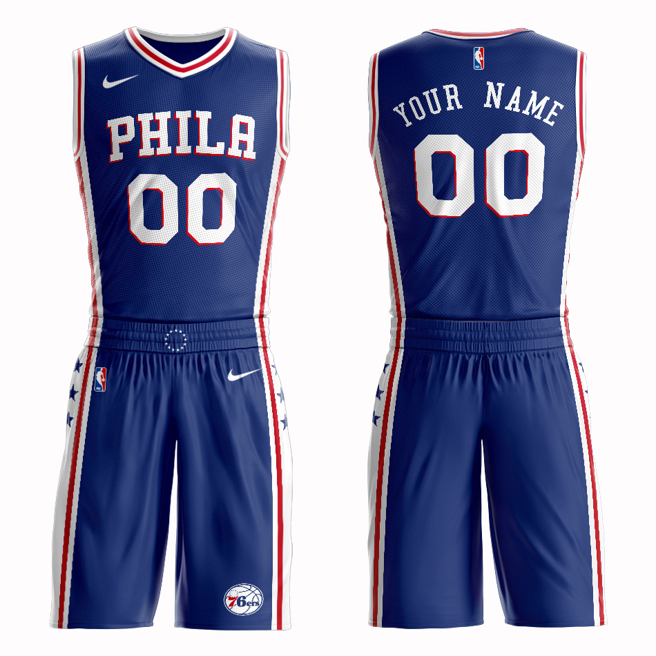 76ers Blue Men's Customized Nike Swingman Jersey(With Shorts)