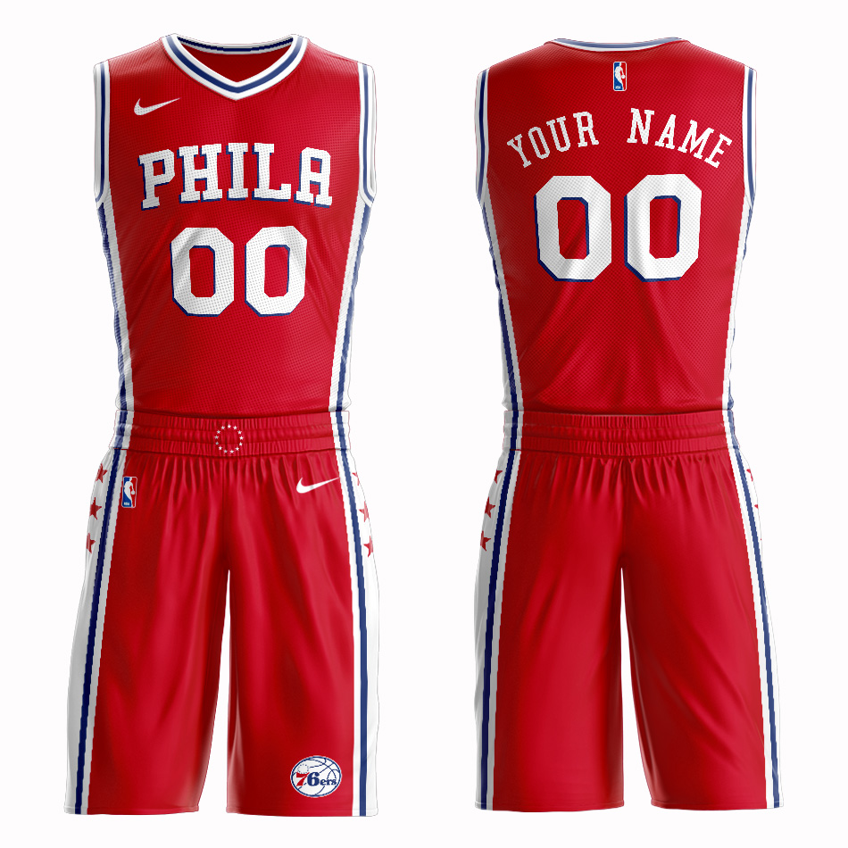 76ers Red Men's Customized Nike Swingman Jersey(With Shorts)