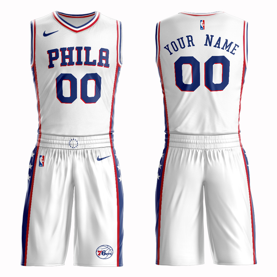 76ers White Men's Customized Nike Swingman Jersey(With Shorts)