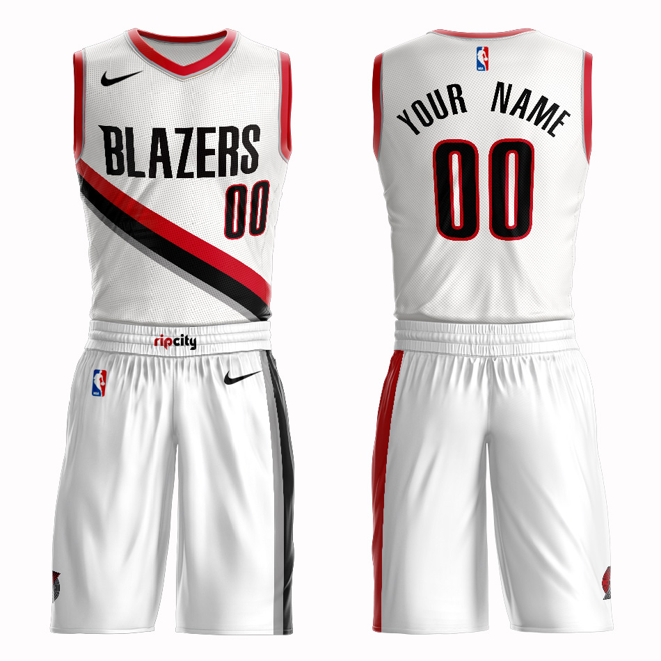Blazers White Men's Customized Nike Swingman Jersey(With Shorts)