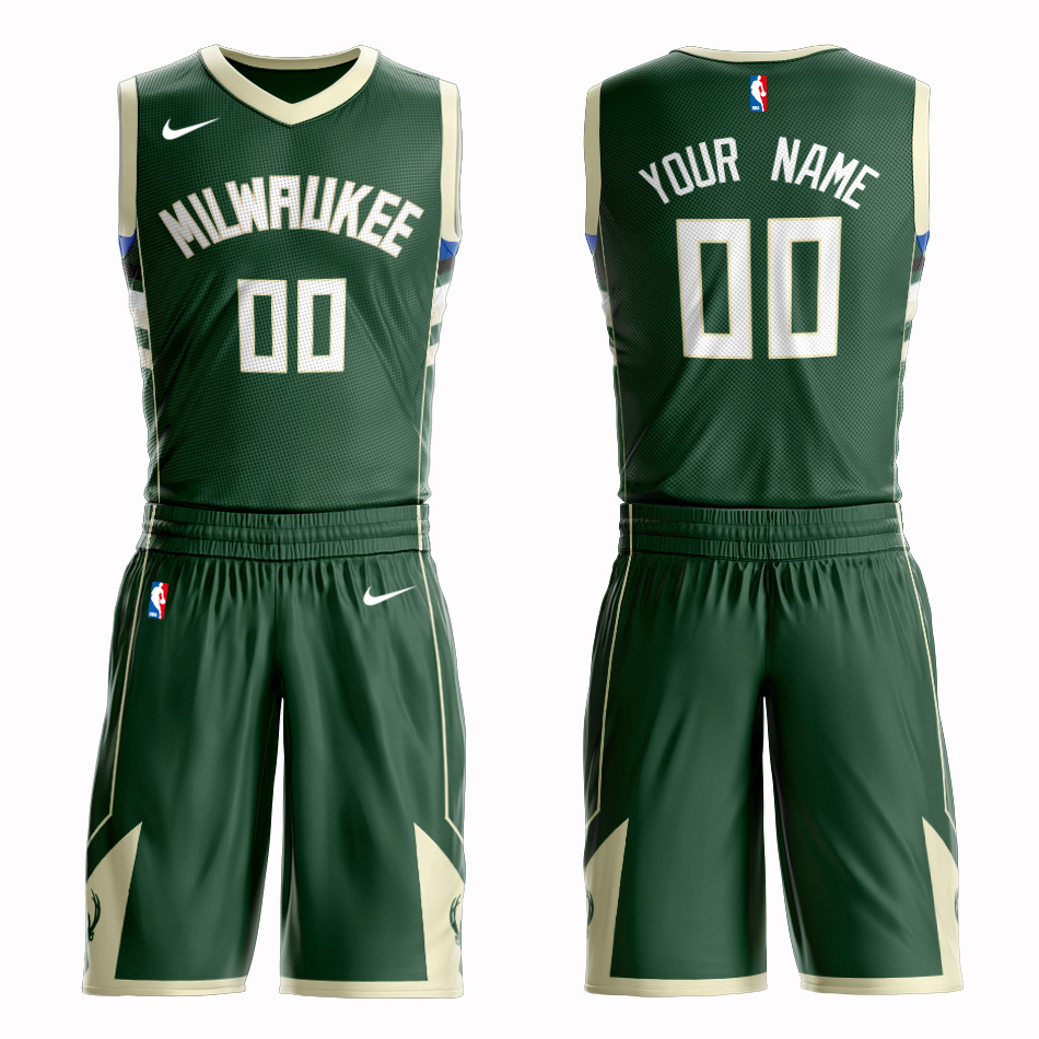 Bucks Green Men's Customized Nike Swingman Jersey(With Shorts)
