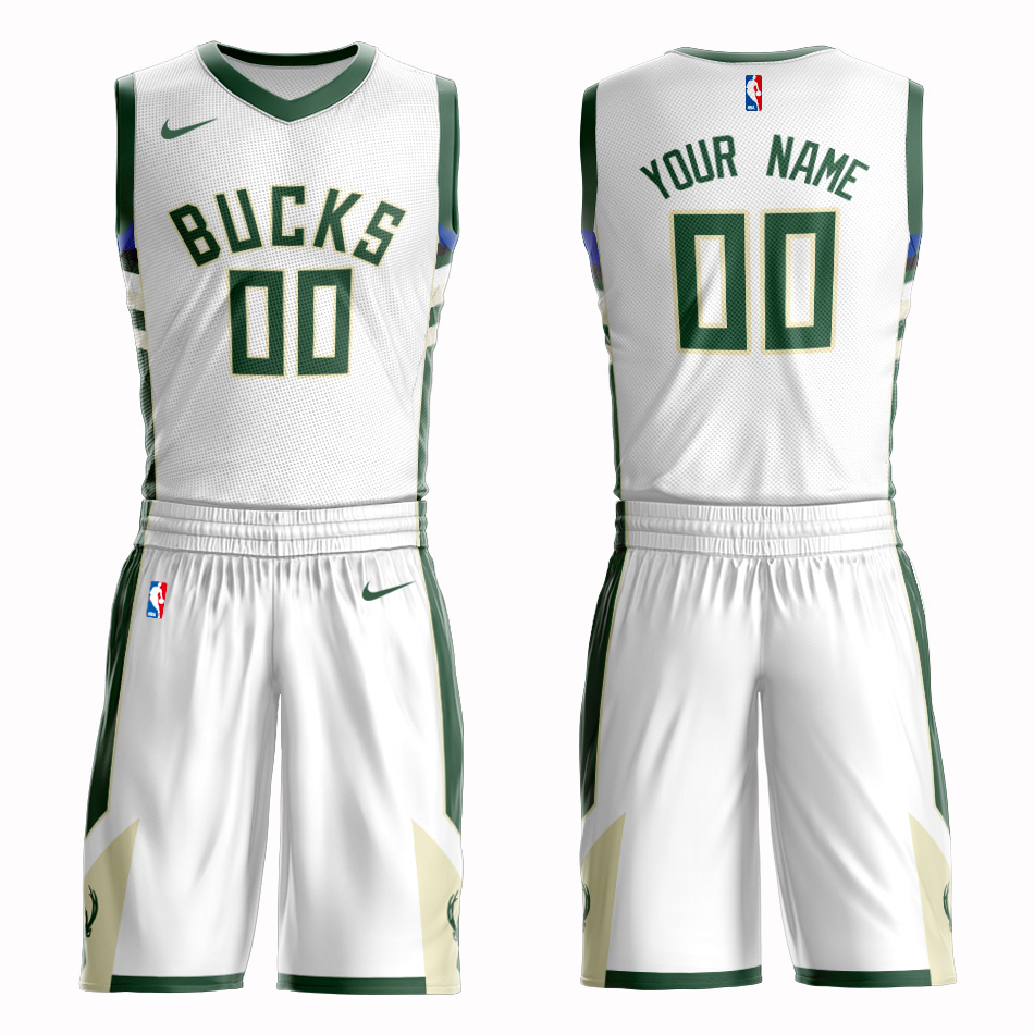Bucks White Men's Customized Nike Swingman Jersey(With Shorts)