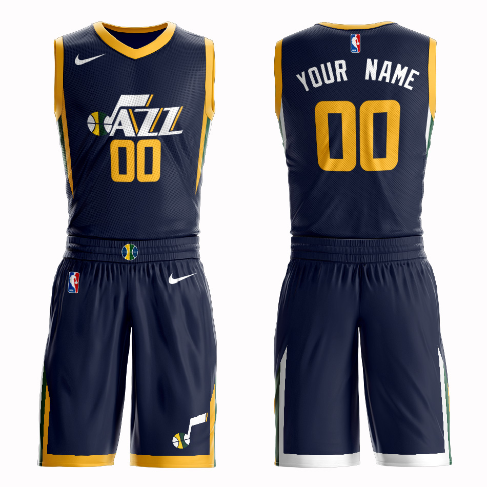 Jazz Navy Men's Customized Nike Swingman Jersey(With Shorts)