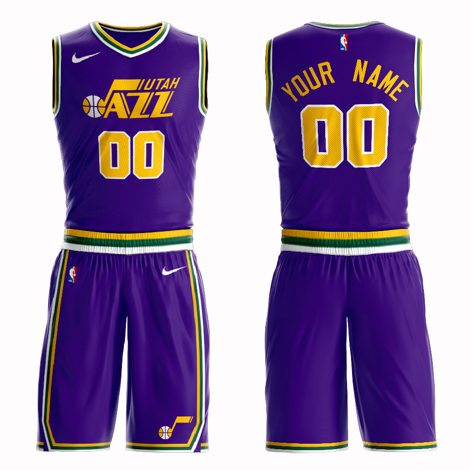 Jazz Purple Men's Customized Nike Swingman Jersey(With Shorts)