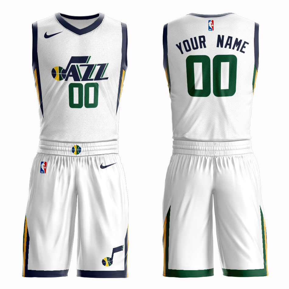 Jazz White Men's Customized Nike Swingman Jersey(With Shorts)