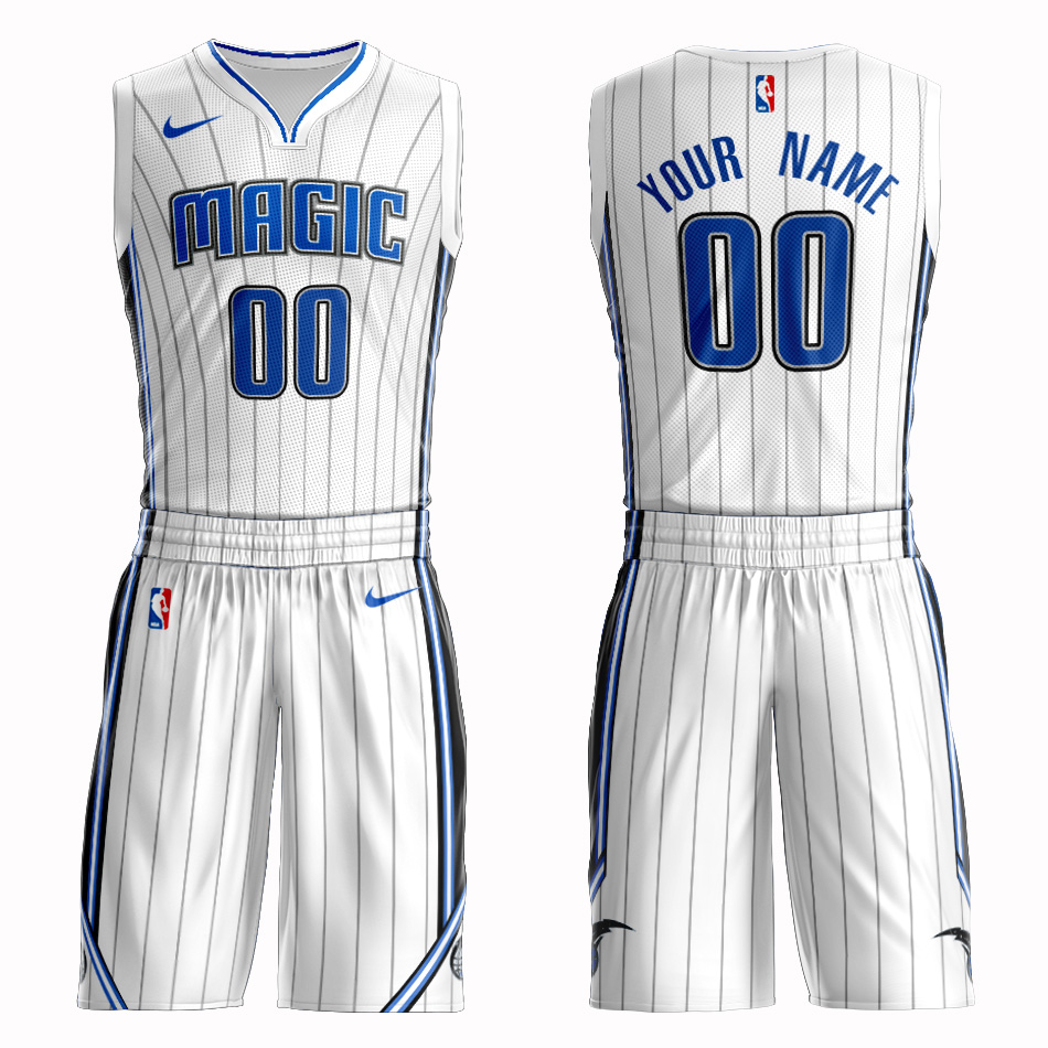 Magic White Men's Customized Nike Swingman Jersey(With Shorts)