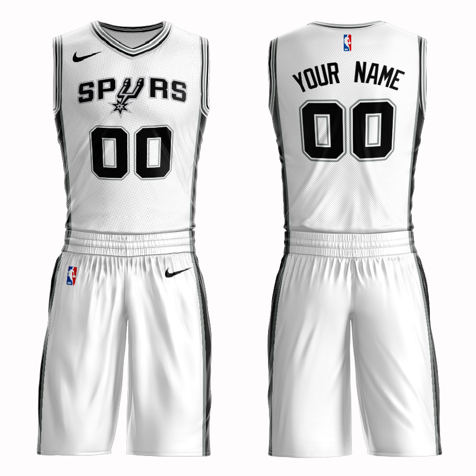 Spurs White Men's Customized Nike Swingman Jersey(With Shorts)