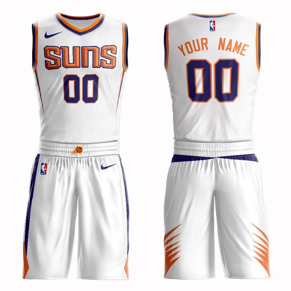 Suns White Men's Customized Nike Swingman Jersey(With Shorts)
