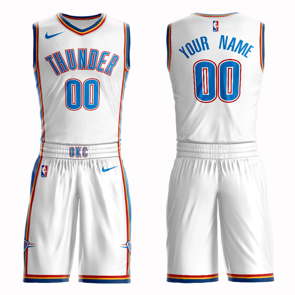 Thunder White Men's Customized Nike Swingman Jersey(With Shorts)