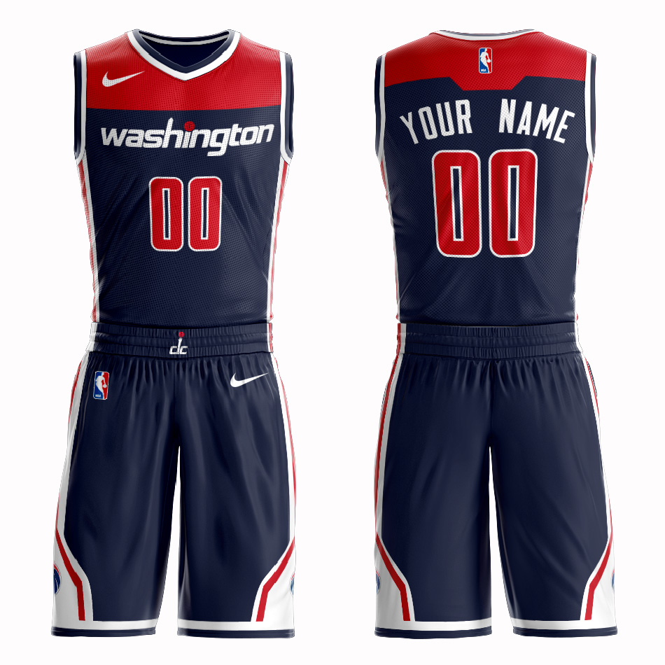 Wizards Navy Men's Customized Nike Swingman Jersey(With Shorts)