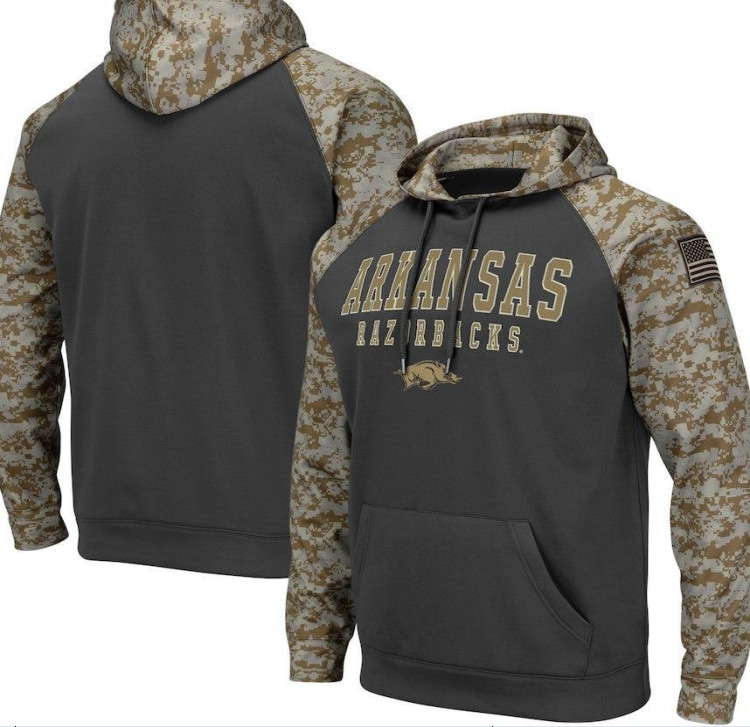 Arkansas Razorbacks Gray Camo Men's Pullover Hoodie
