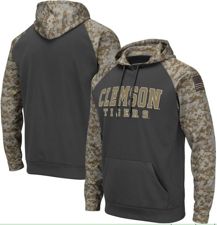 Clemson Tigers Gray Camo Men's Pullover Hoodie