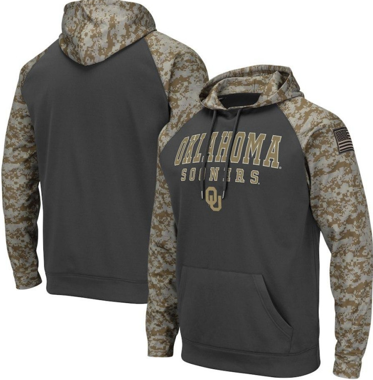 Oklahoma Sooners Gray Camo Men's Pullover Hoodie
