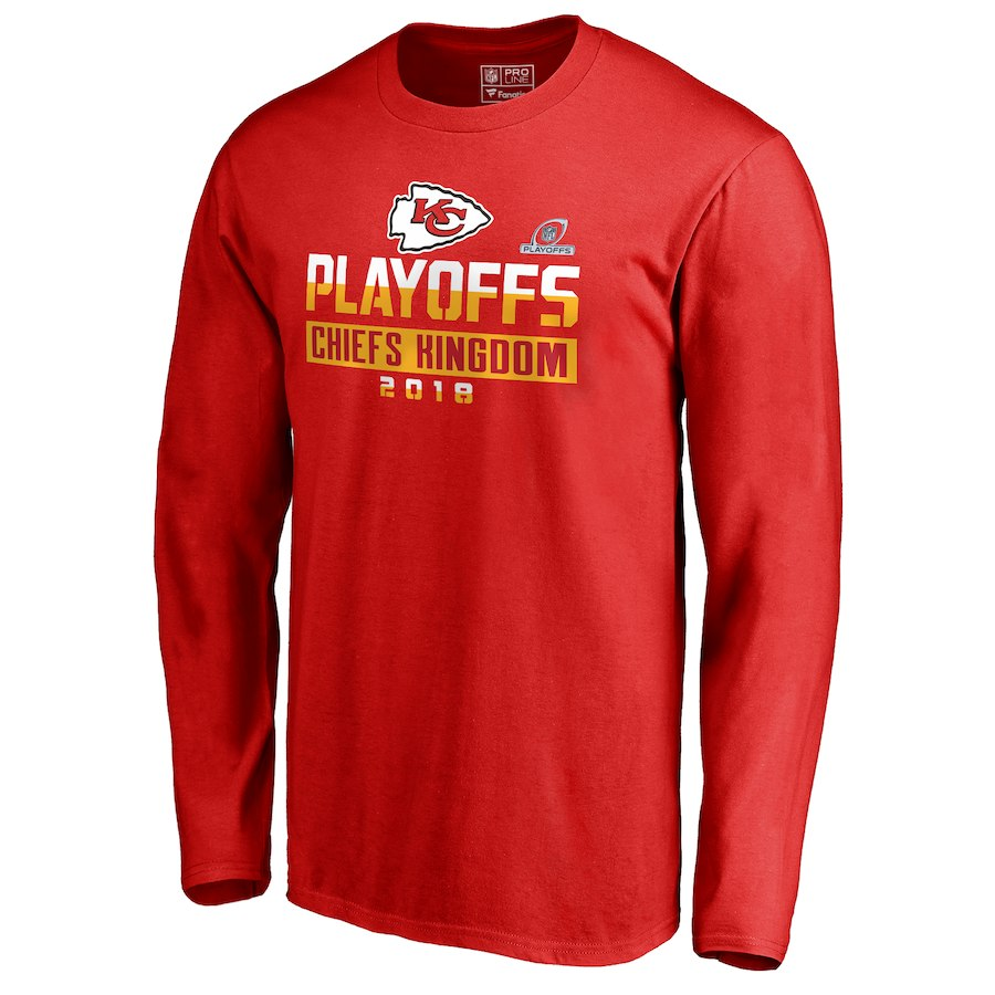 Chiefs Red 2018 NFL Playoffs Chiefs Kingdom Men's Long Sleeve T-Shirt