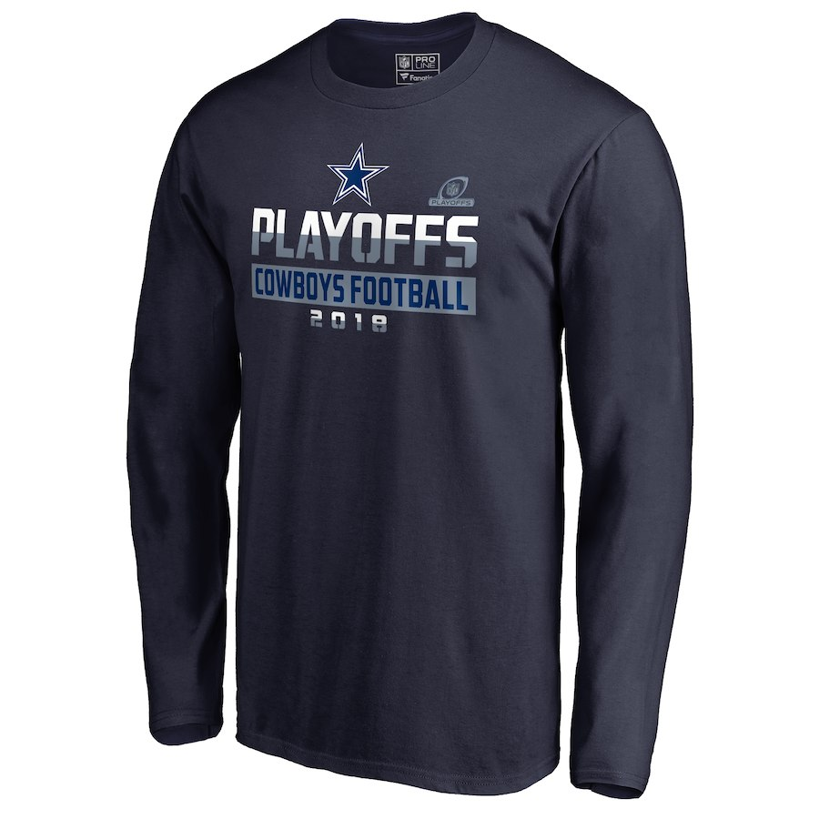 Cowboys Navy 2018 NFL Playoffs Cowboys Football Men's Long Sleeve T-Shirt
