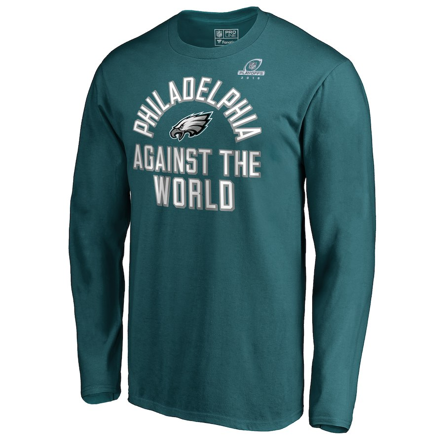 Eagles Green 2018 NFL Playoffs Against The World Men's Long Sleeve T-Shirt