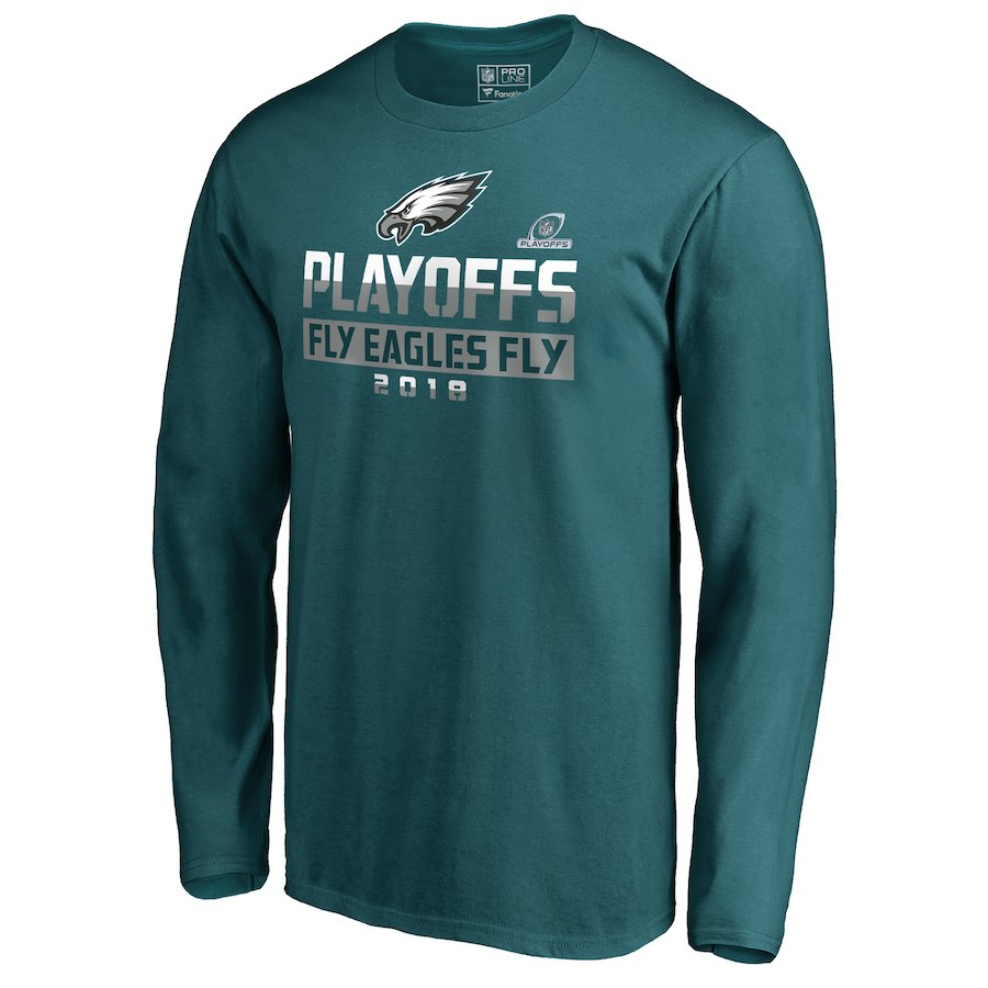 Eagles Green 2018 NFL Playoffs Fly Eagles Fly Men's Long Sleeve T-Shirt