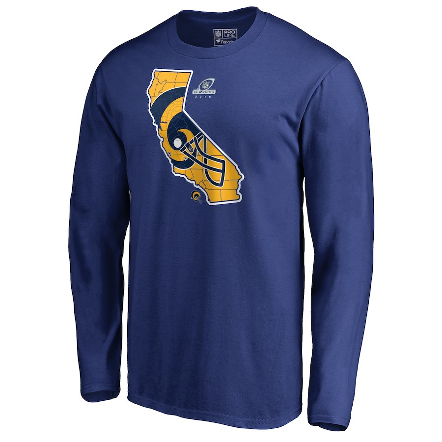 Rams Blue 2018 NFL Playoffs Men's Long Sleeve T-Shirt