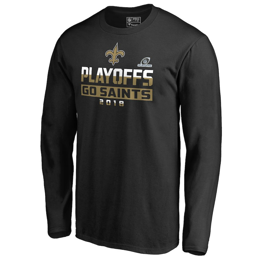 Saints Black 2018 NFL Playoffs Go Saints Men's Long Sleeve T-Shirt