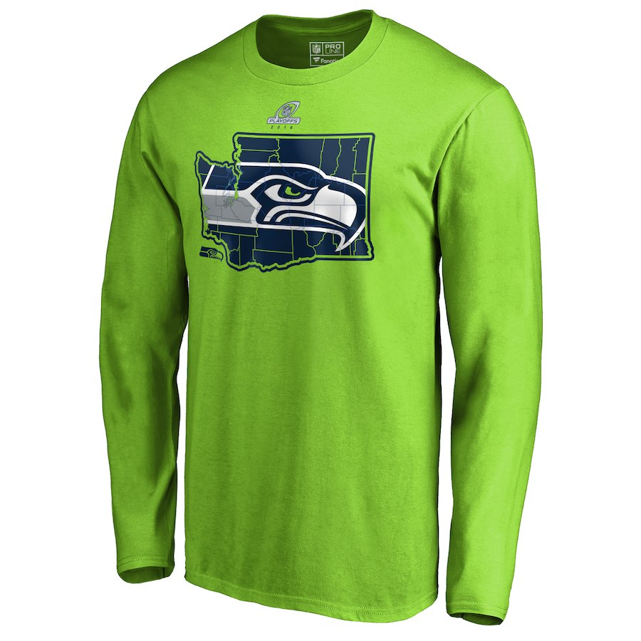 Seahawks Green 2018 NFL Playoffs Men's Long Sleeve T-Shirt