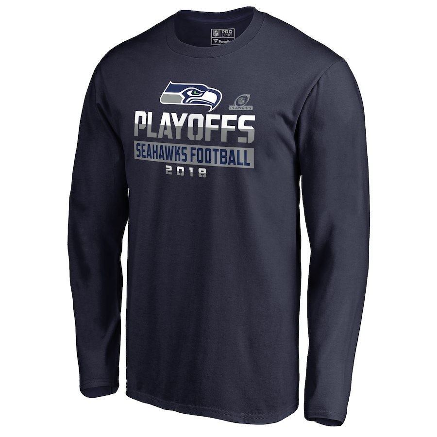 Seahawks Navy 2018 NFL Playoffs Seahawks Football Men's Long Sleeve T-Shirt