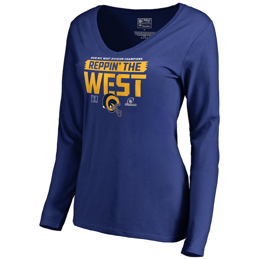 Rams Blue Women's Long Sleeve 2018 NFL Playoffs Reppin' The West T-Shirt