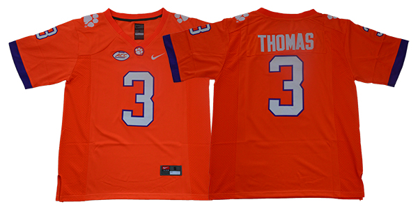Clemson Tigers 3 Xavier Thomas Orange College Football Jersey