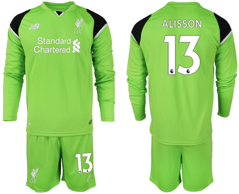 2018-19 Liverpool 13 ALISSON Green Long Sleeve Goalkeeper Soccer Jersey