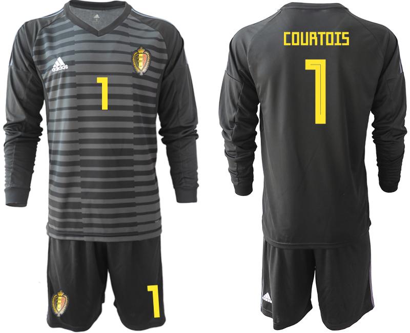 Belgium 1 COURTOIS Black 2018 FIFA World Cup Long Sleeve Goalkeeper Soccer Jersey