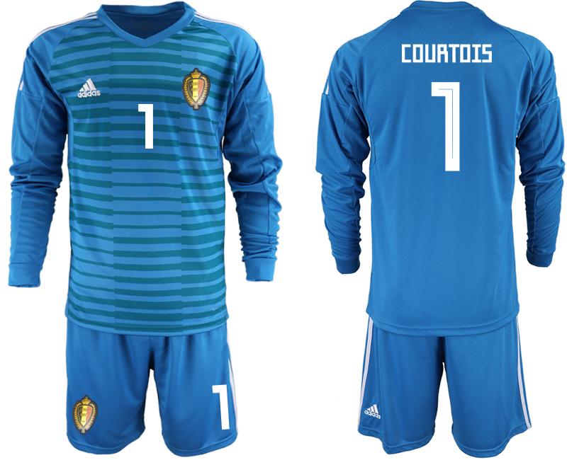 Belgium 1 COURTOIS Blue 2018 FIFA World Cup Long Sleeve Goalkeeper Soccer Jersey